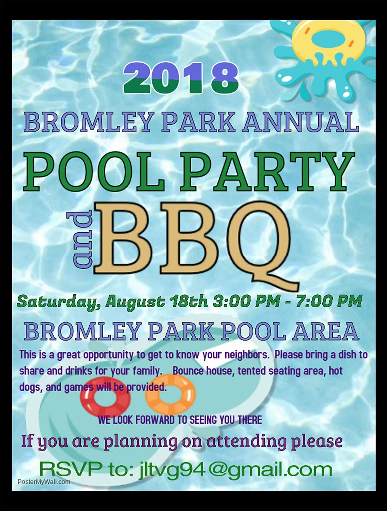 2018 Annual Bromley Park Pool Party & BBQ flyer